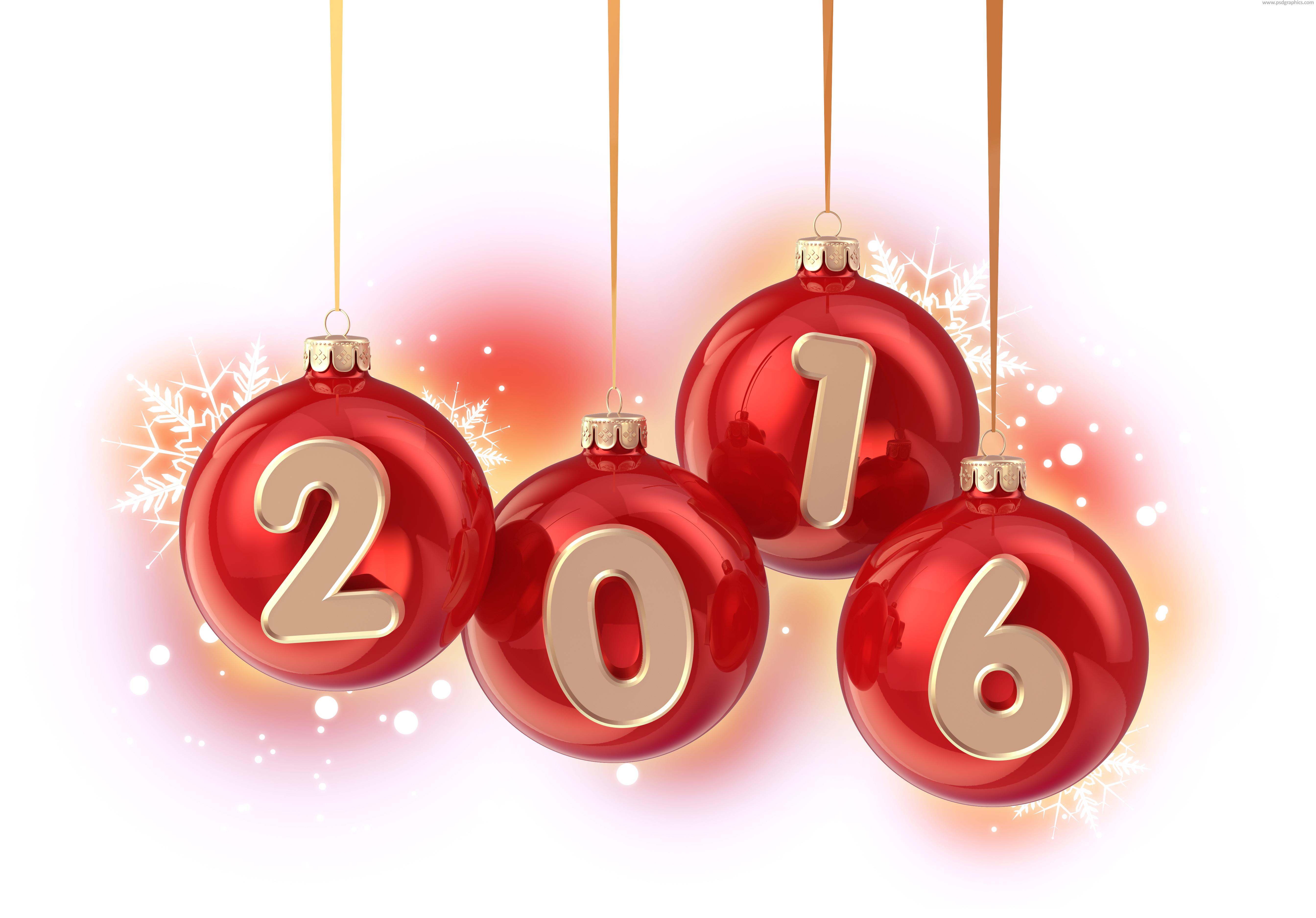 Year 2016 Christmas balls | PSDGraphics