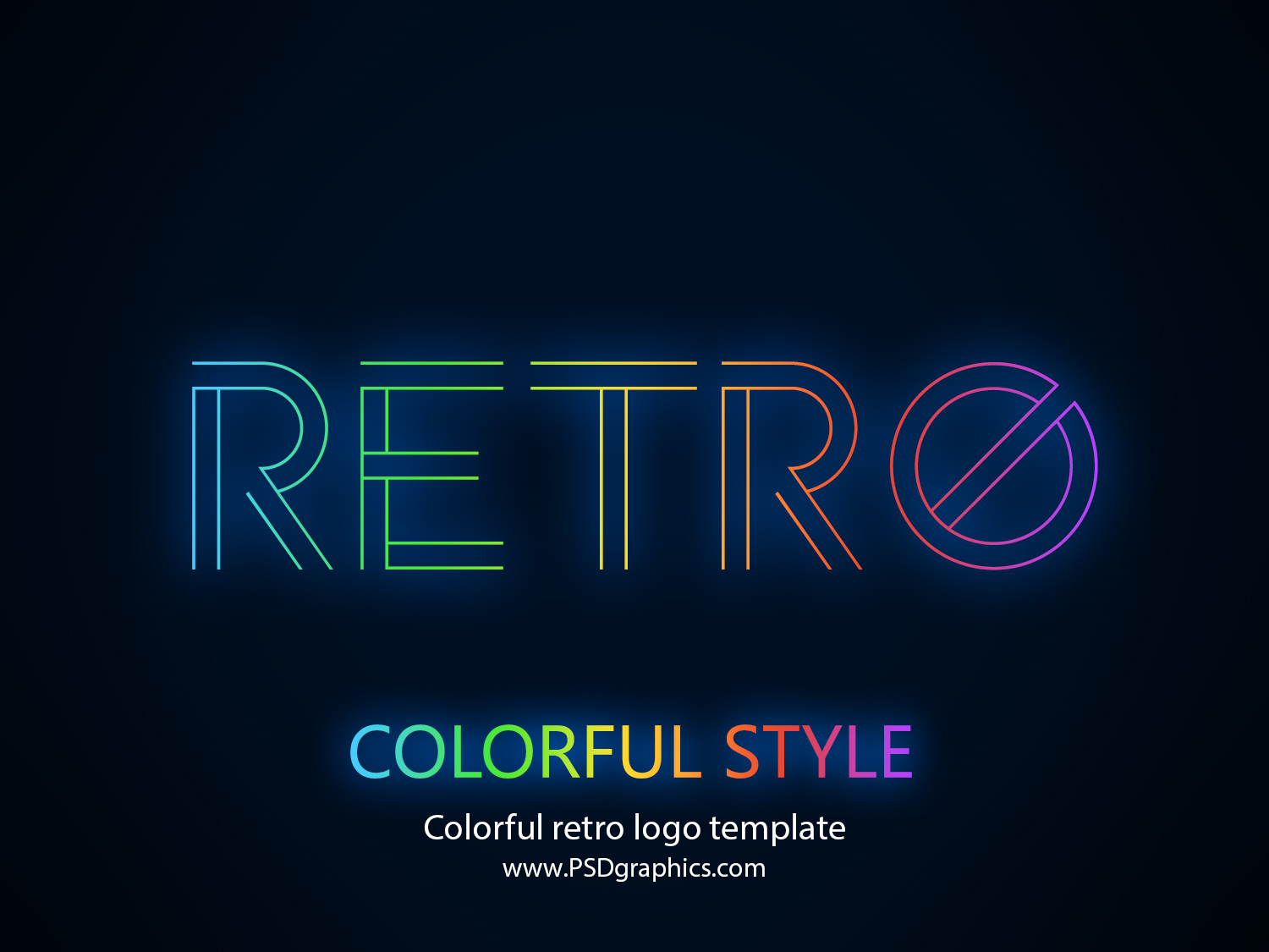colorful retro logo template (psd) | psdgraphics