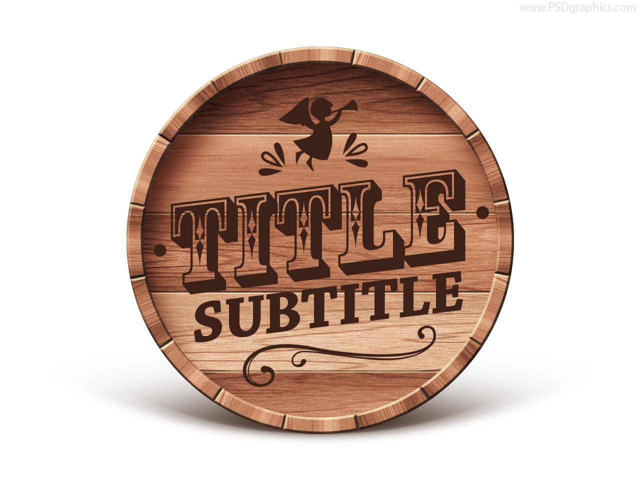 wooden barrel emblem psd template psdgraphics