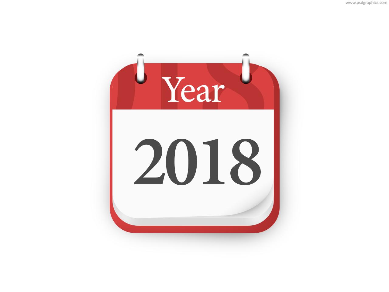year 2018 calendar icon psd psdgraphics