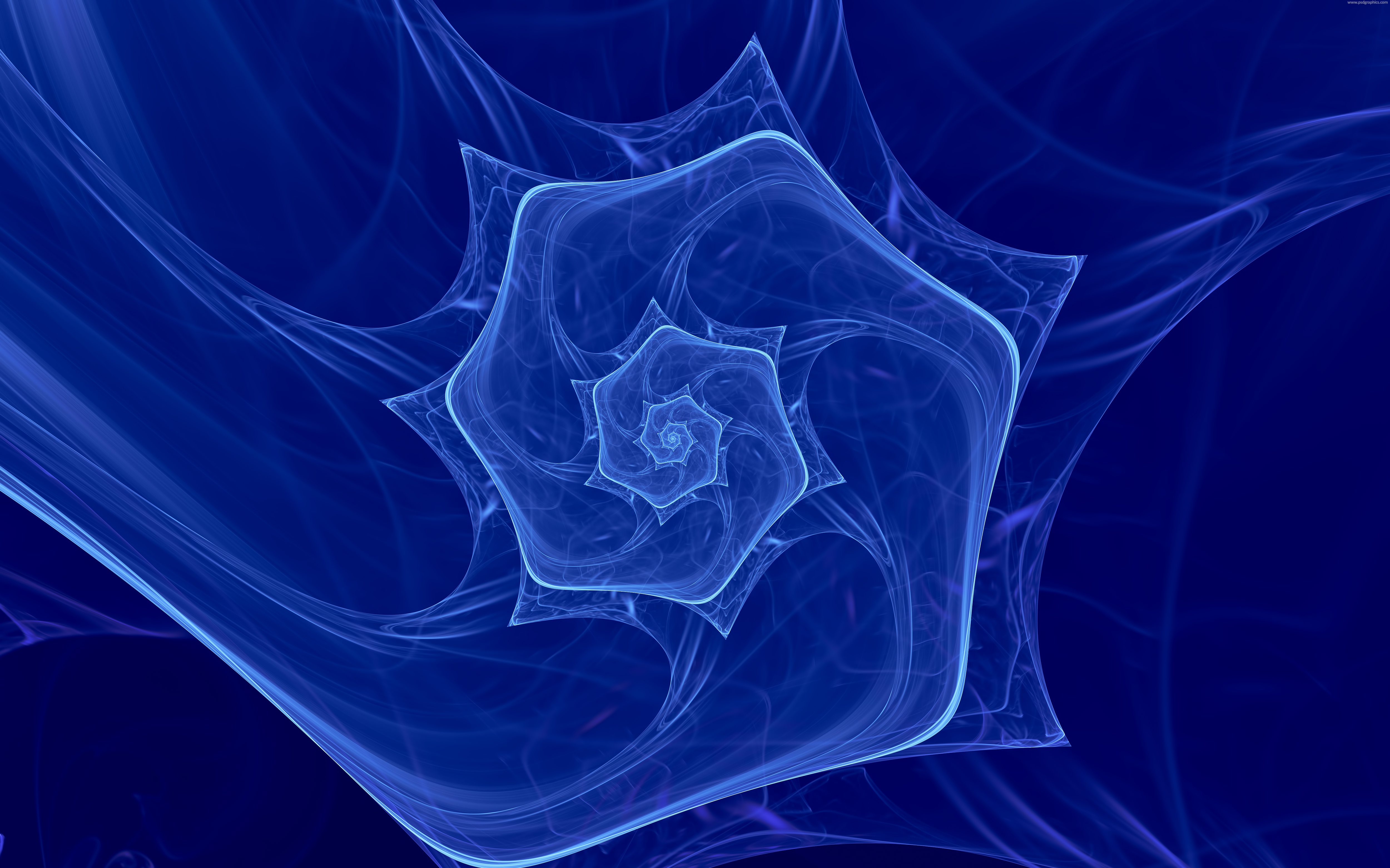 Blue Spiral Fractal Background Psdgraphics
