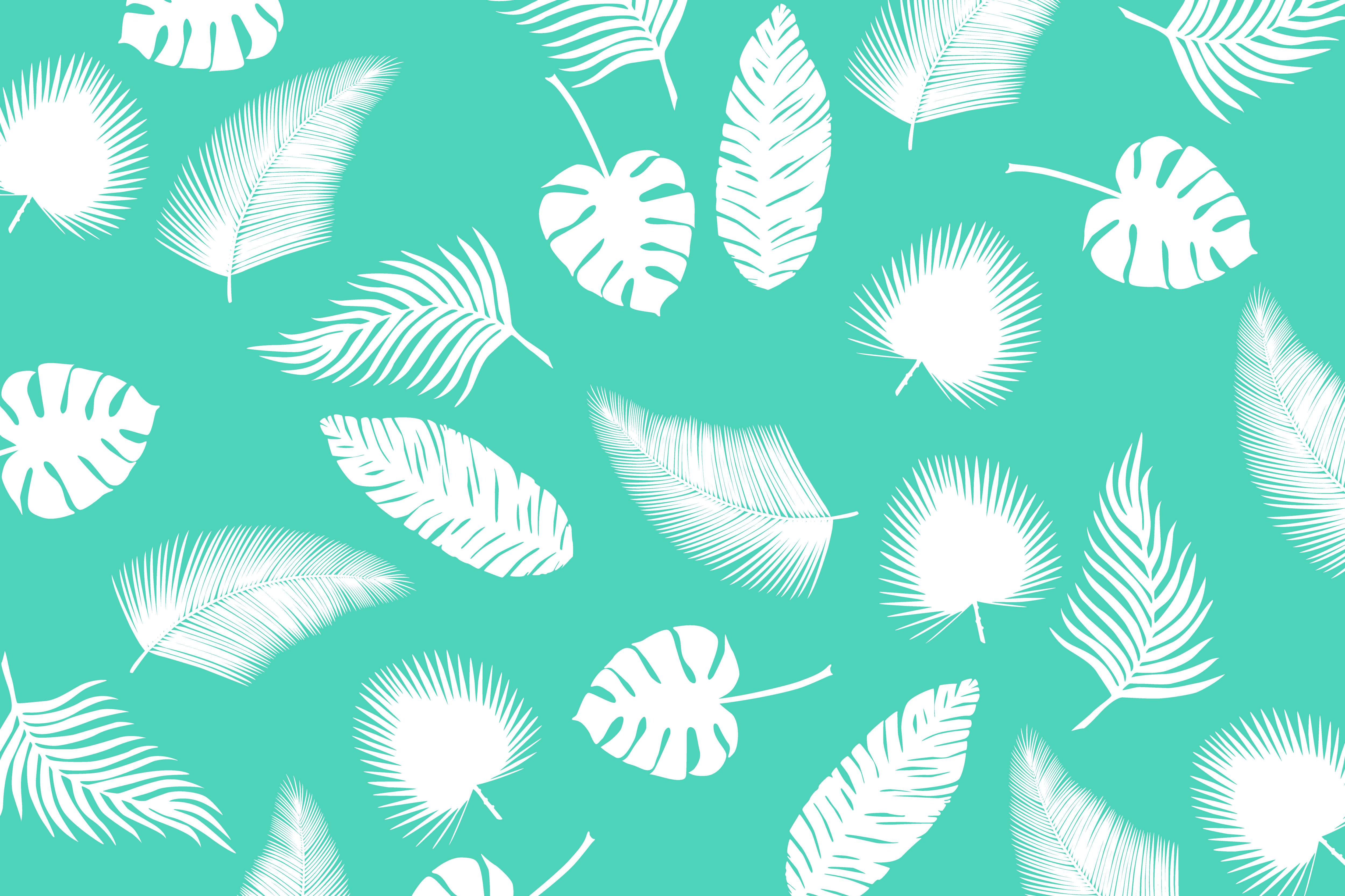 Vector Leaves Turquoise Pattern Psdgraphics