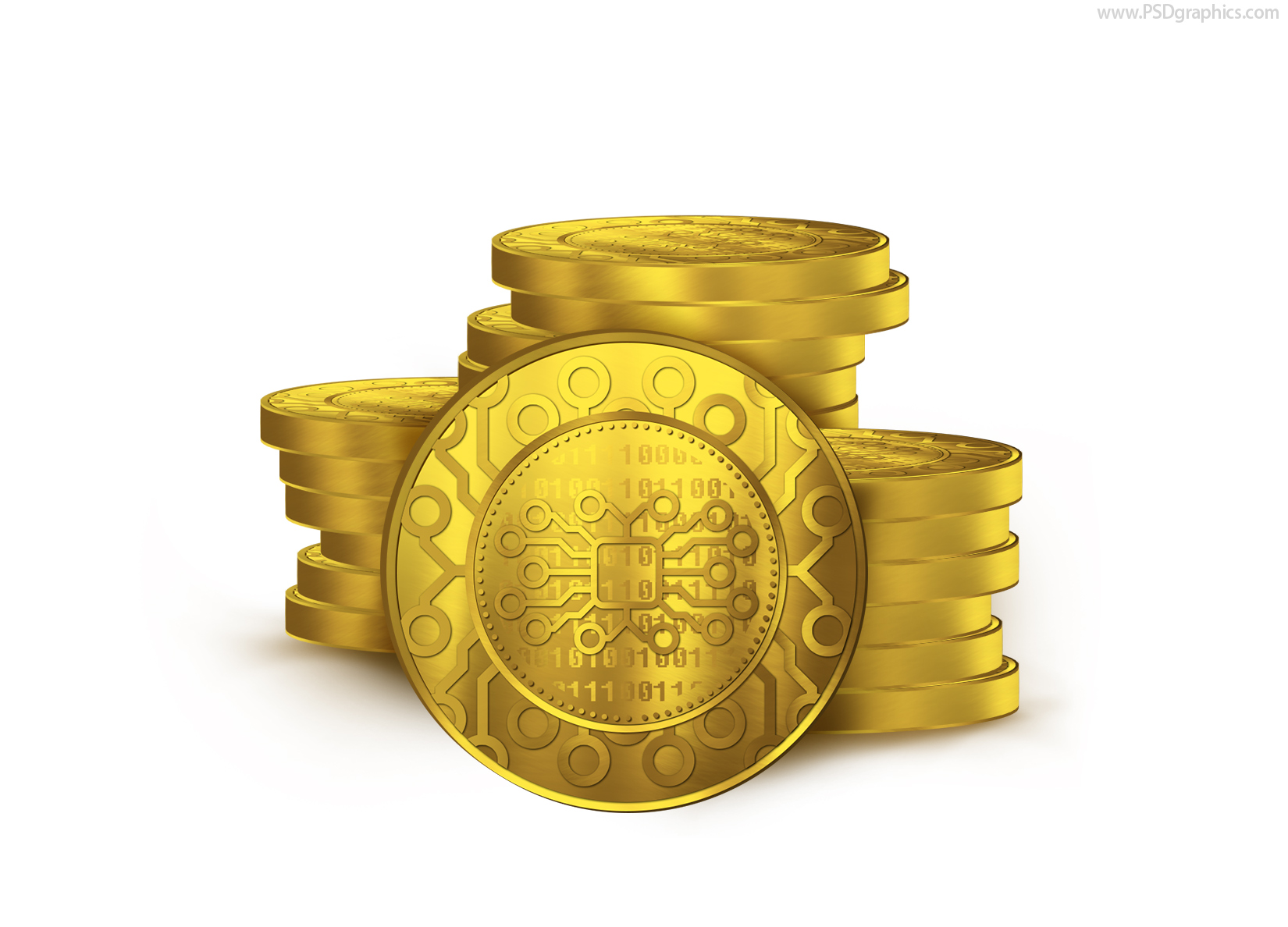 Digital currency coins icon PSD | PSDGraphics