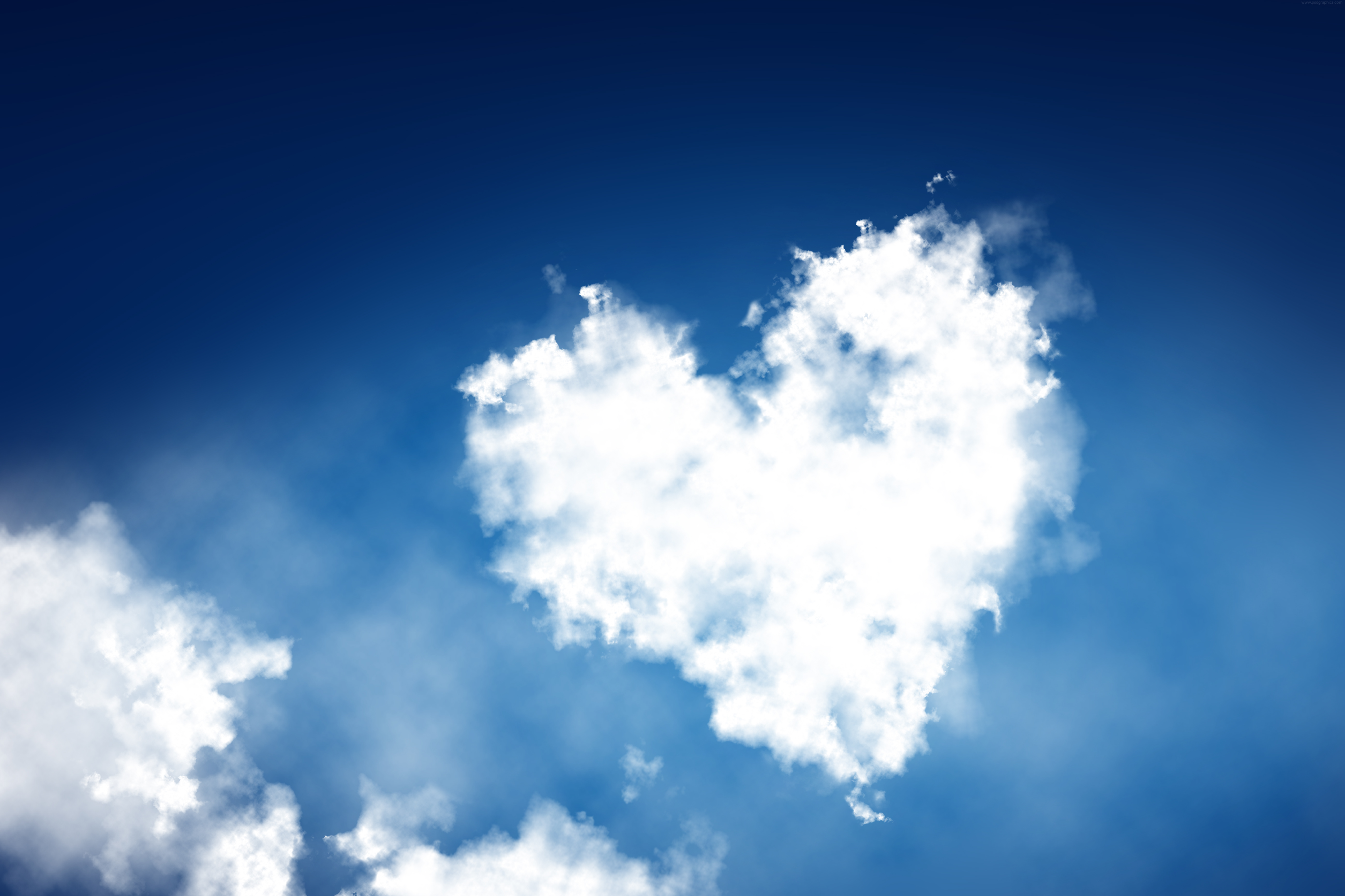 heart shaped clouds background psdgraphics