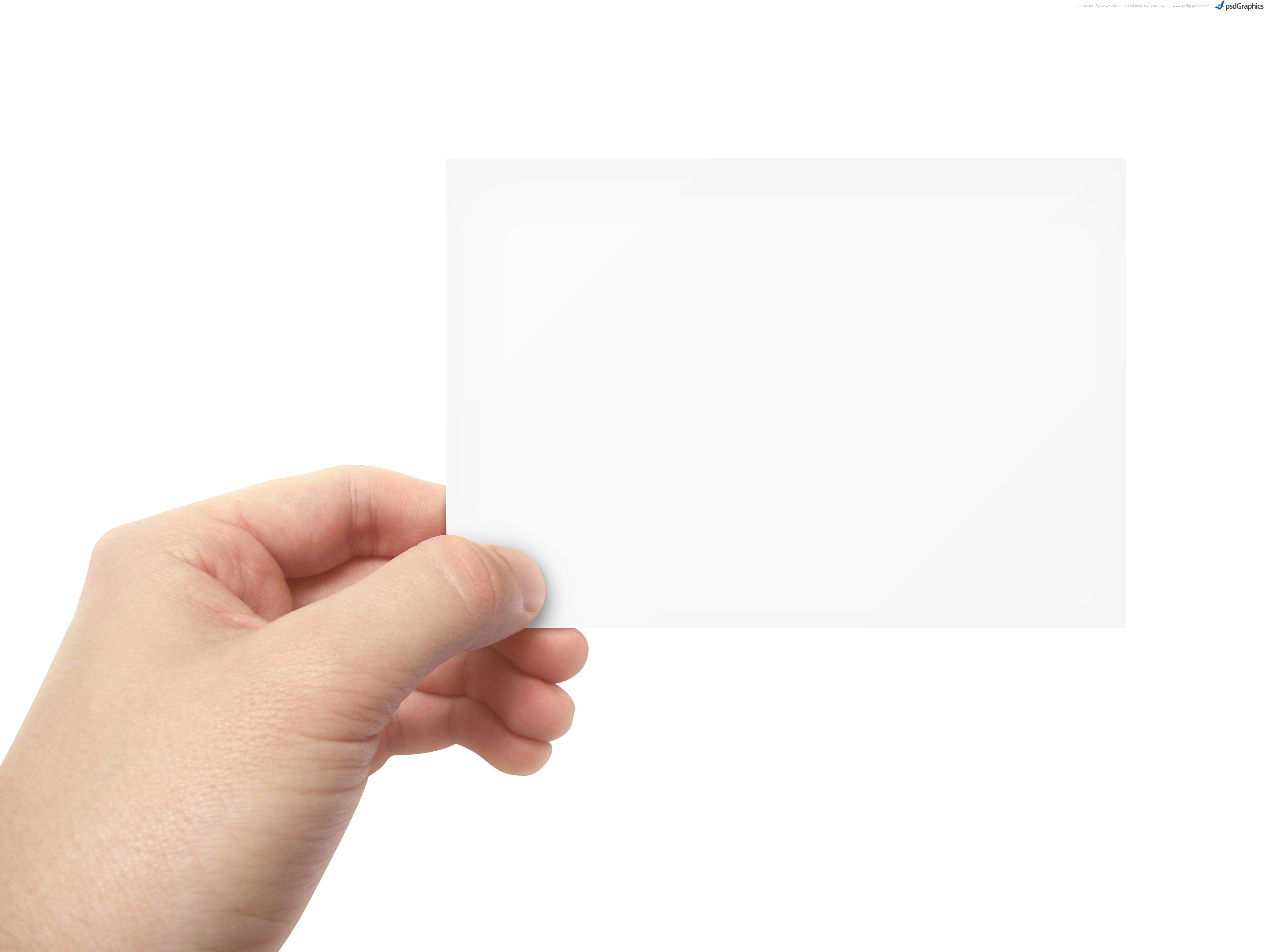 blank business card in hand  psdgraphics