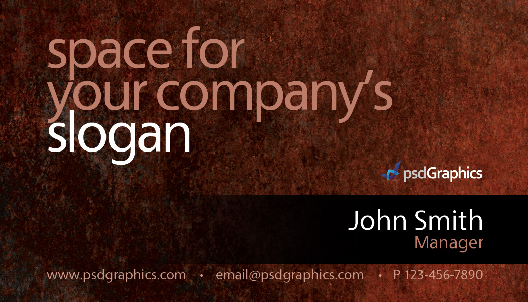 Grunge business card photoshop template psdgraphics color theme cmyk black brown orange green purple keywords download business card template dark business cards psd templates grunge reheart Images