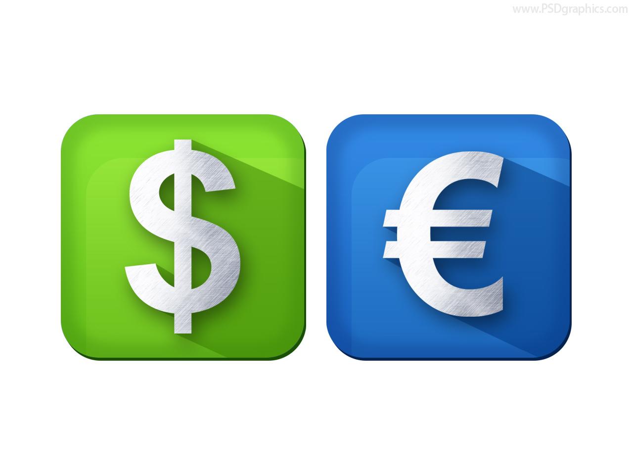 Gold euro symbol psdgraphics dollar and euro currency icons psd buycottarizona Choice Image