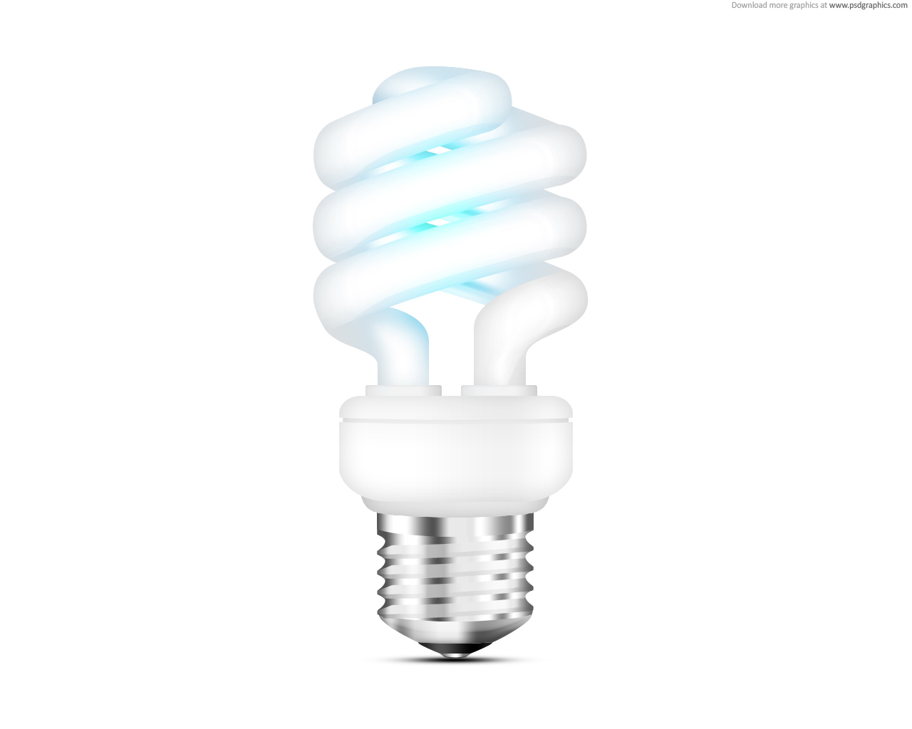 Fluorescent light bulb icon psd