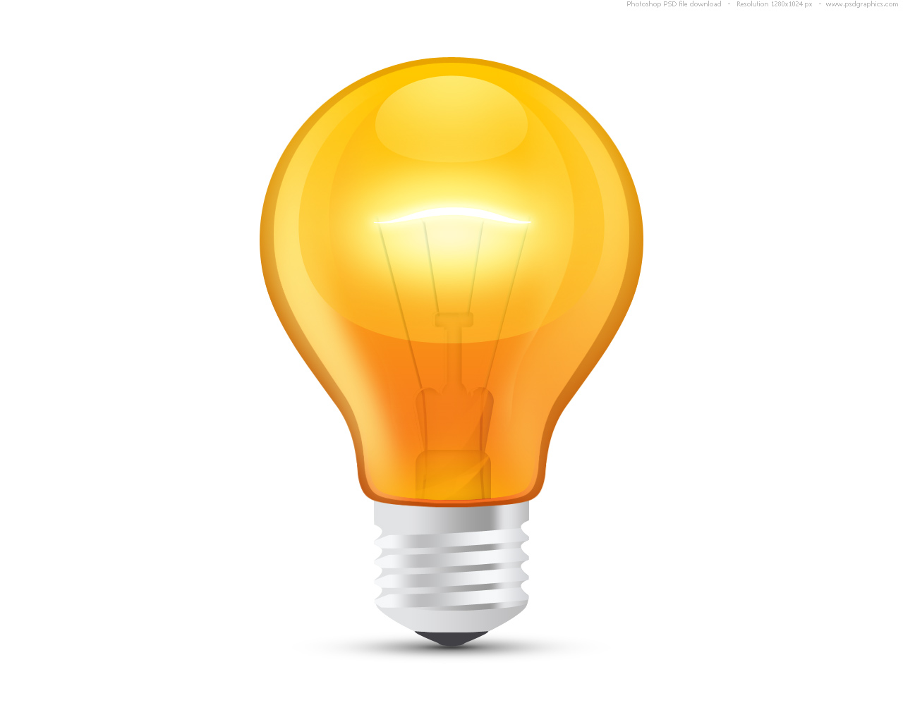 Glossy Orange Light Bulb Psd Psdgraphics