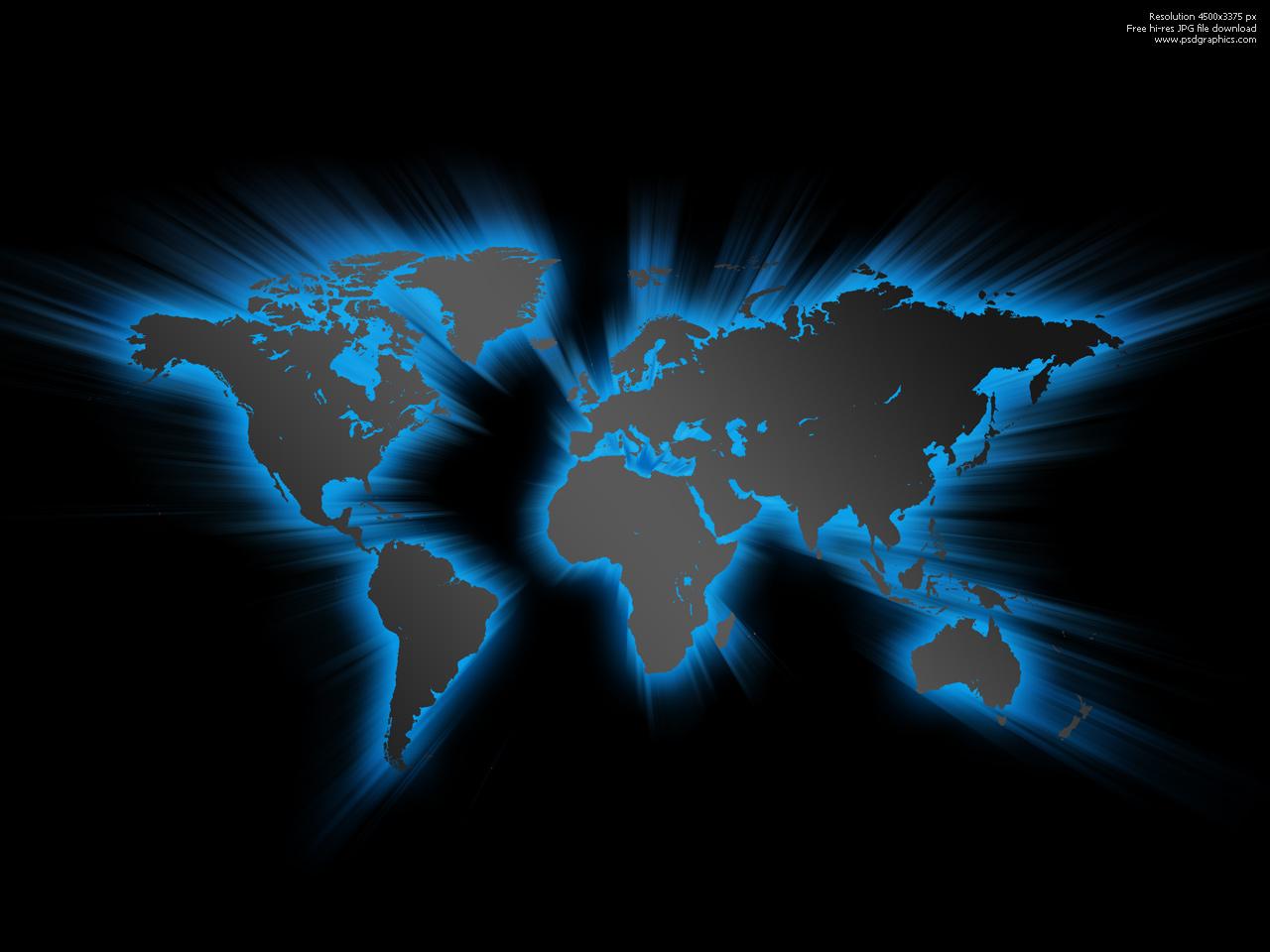 Blue glowing world map | PSDGraphics on