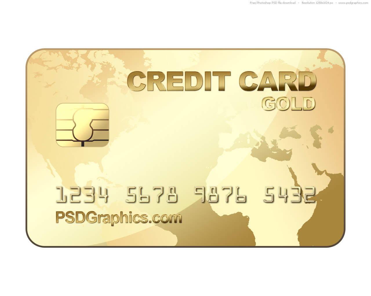 PSD gold credit card template  PSDGraphics Within Credit Card Template For Kids