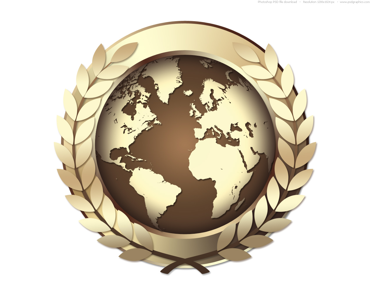 PSD gold world award icon, golden medal | PSDGraphics