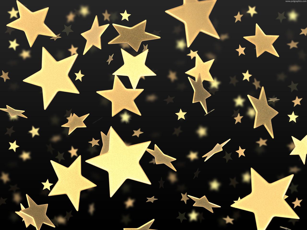 Medium size preview (1280x960px): Golden stars on black