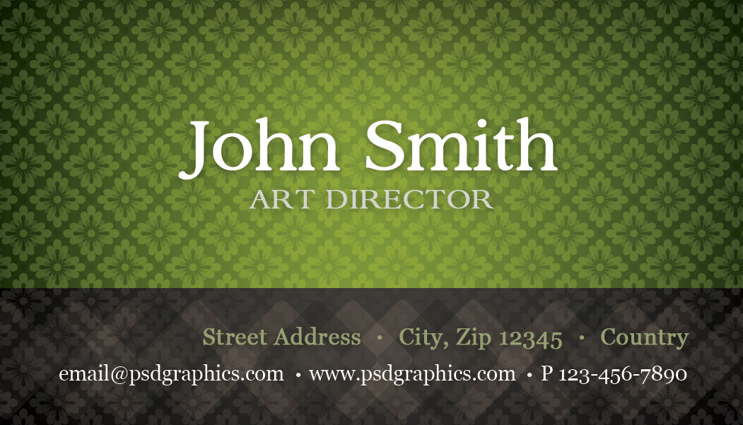 Green business card template with seamless pattern psdgraphics retro card template reheart Gallery