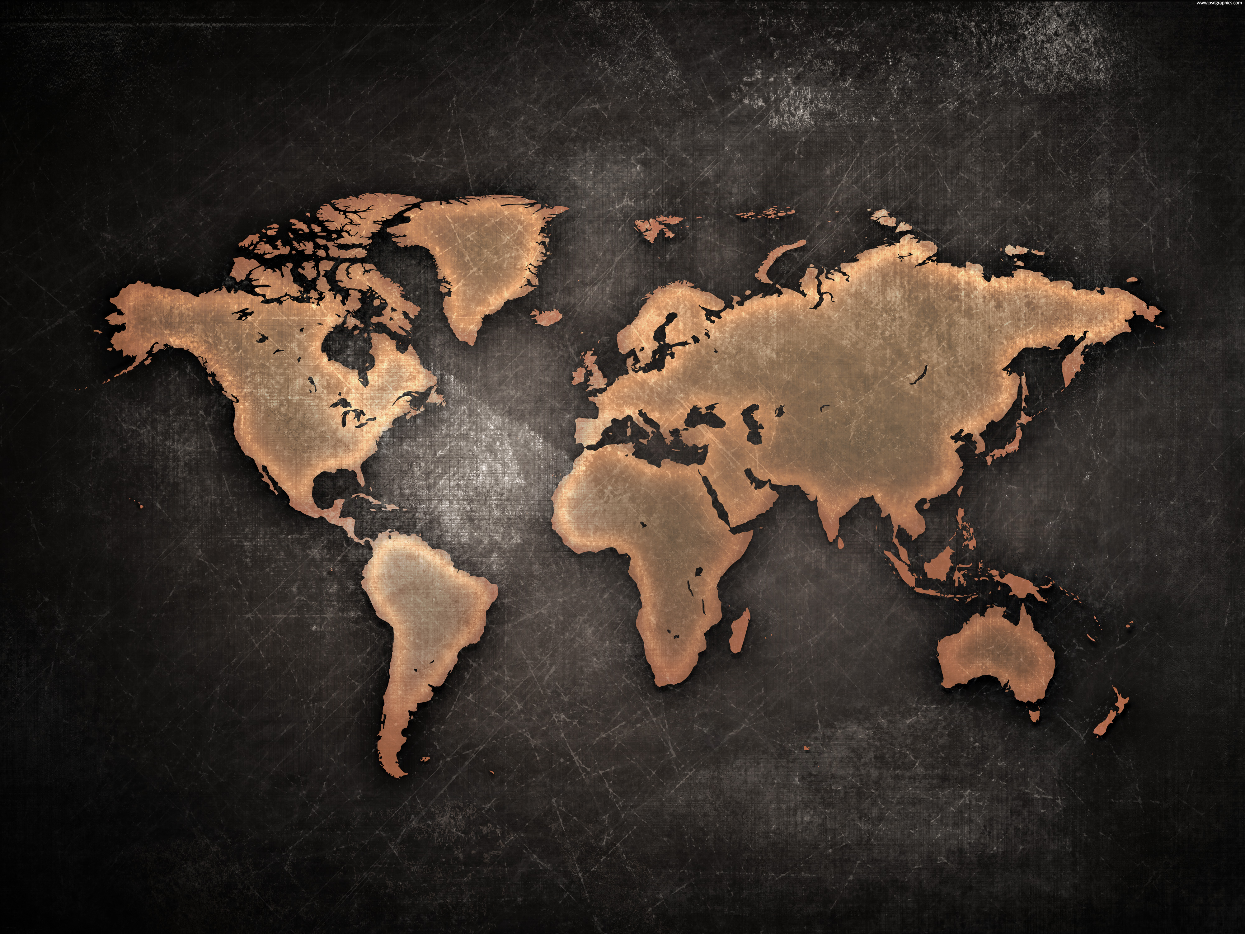 Wooden world map world map wall rusted metal texture blank