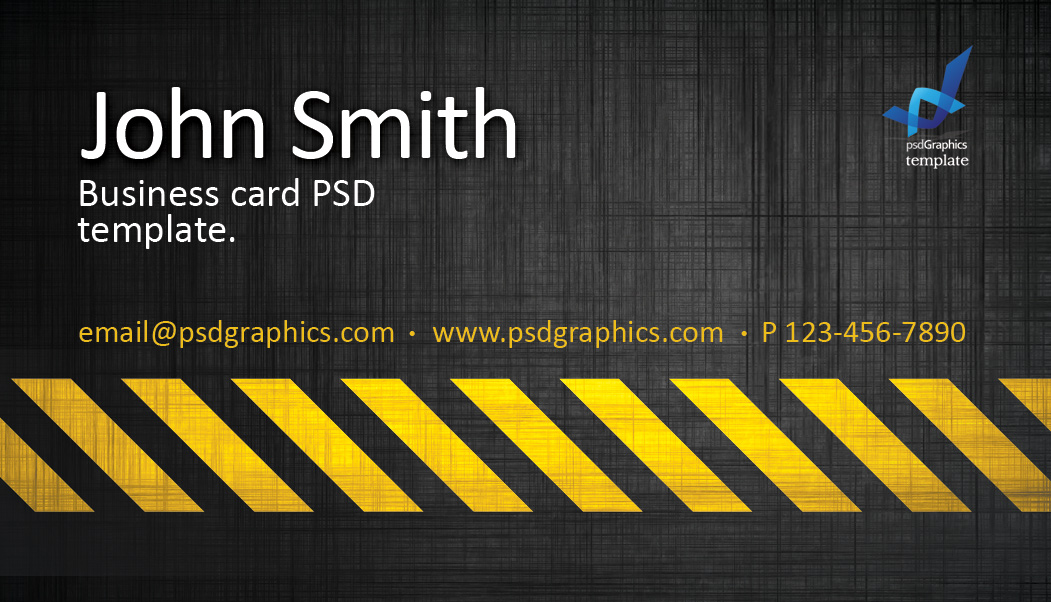 Business Card Template Construction Hazard Stripes Theme - Construction business card templates download free