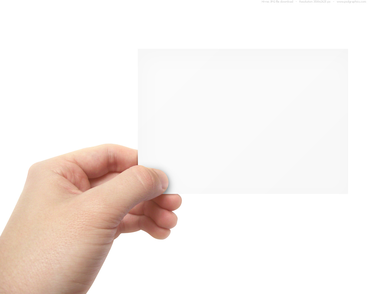 Blank business card in hand psdgraphics blank business card in hand holding a blank flyer colourmoves