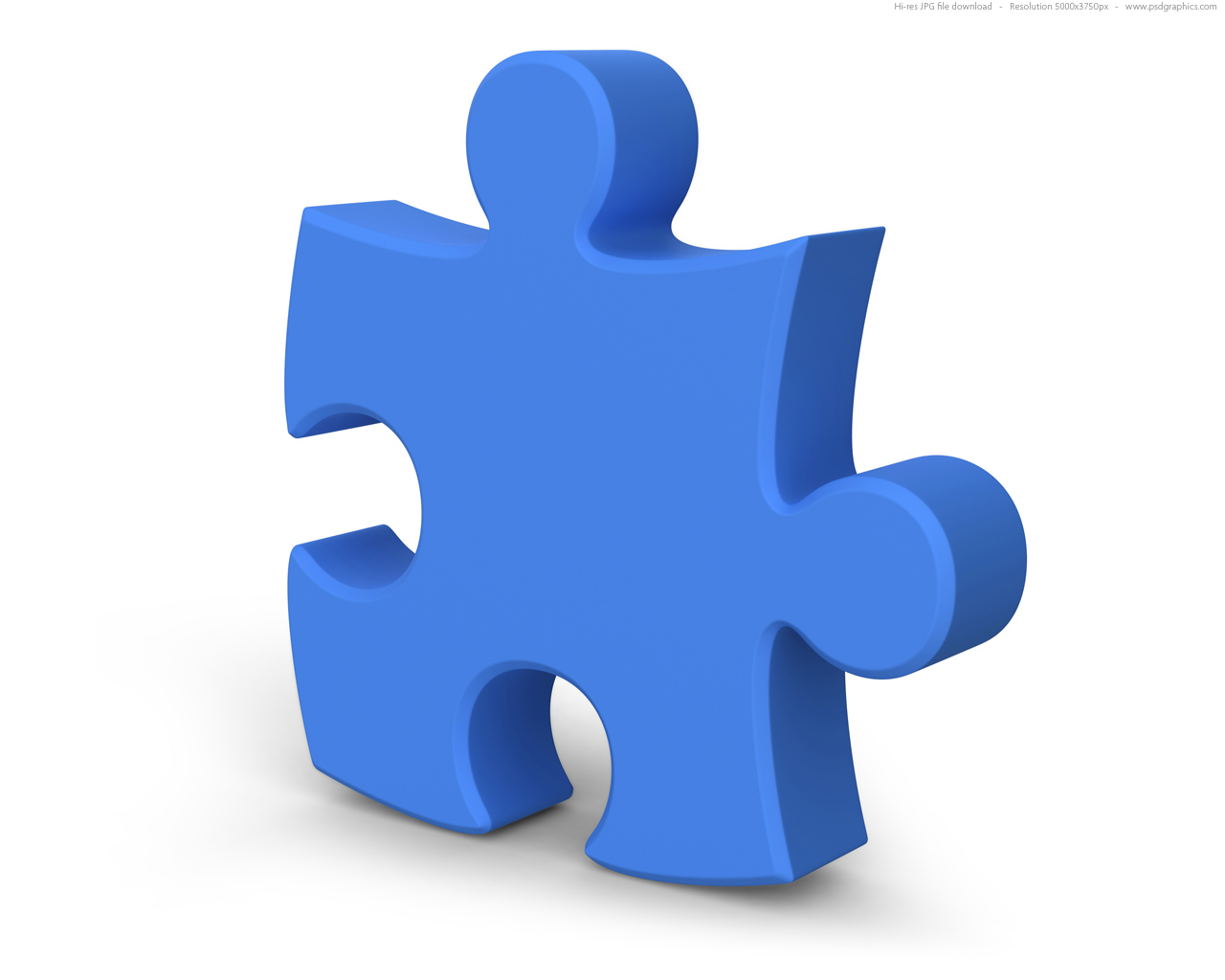 Single Jigsaw Puzzle Piece 3D Symbol
