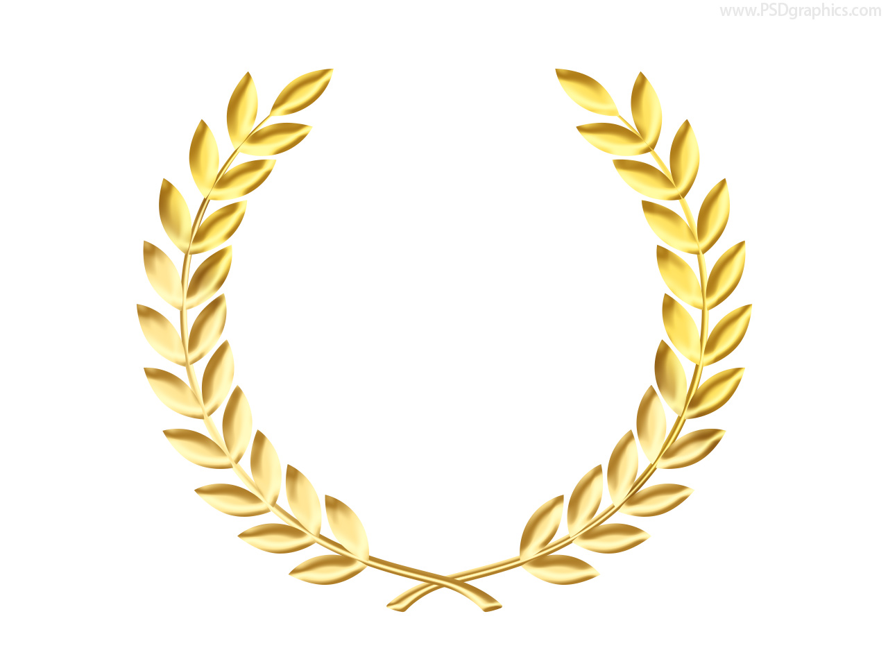 Gold laurel wreath medal template psd psdgraphics for Laurel leaf crown template