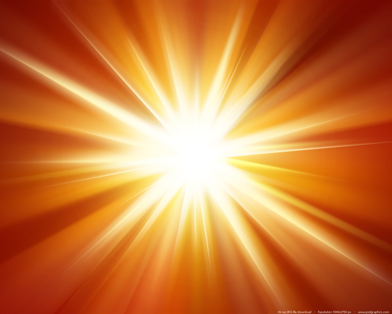 Orange light burst background