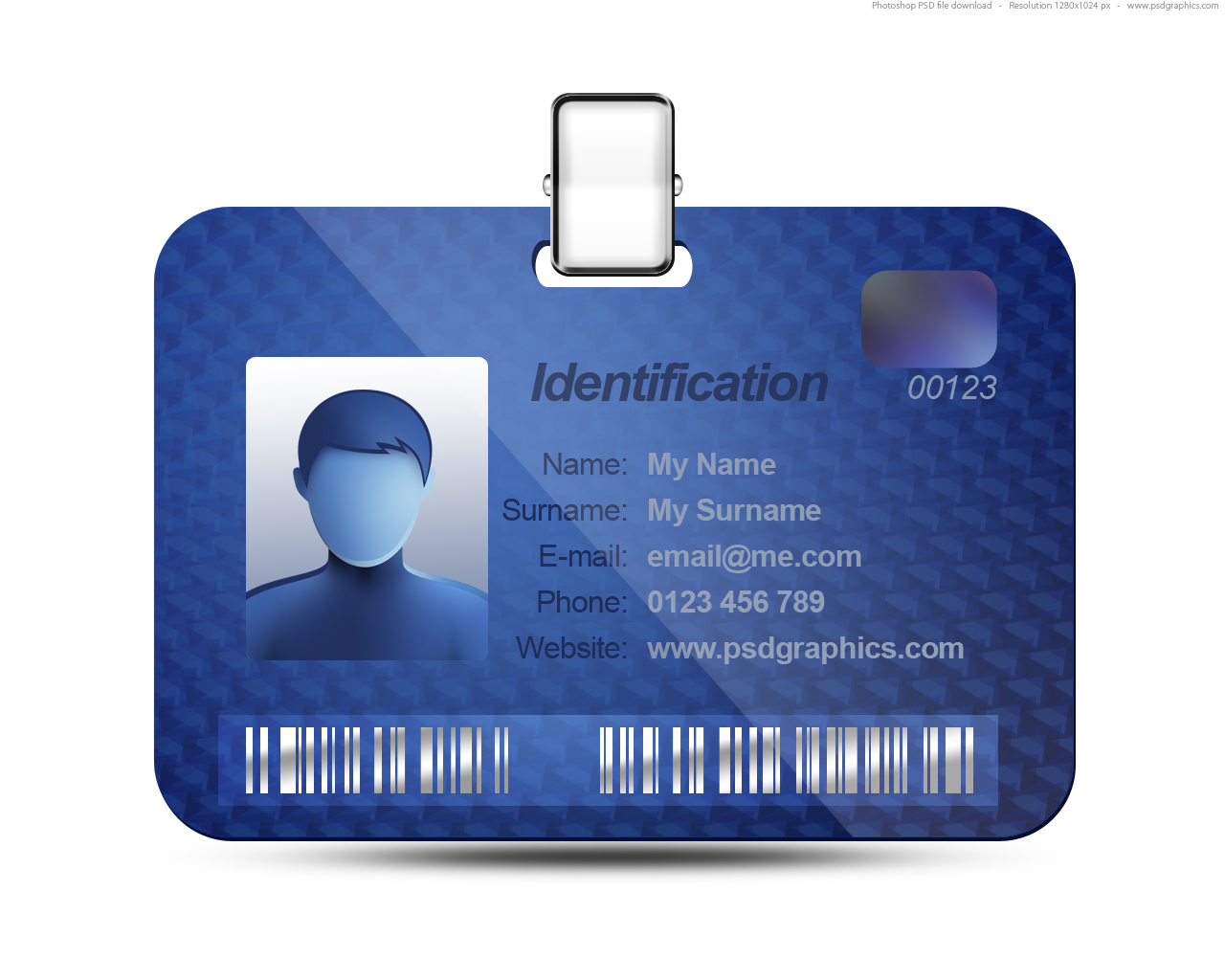 Name Tag Icon Blue Identification Card PSD