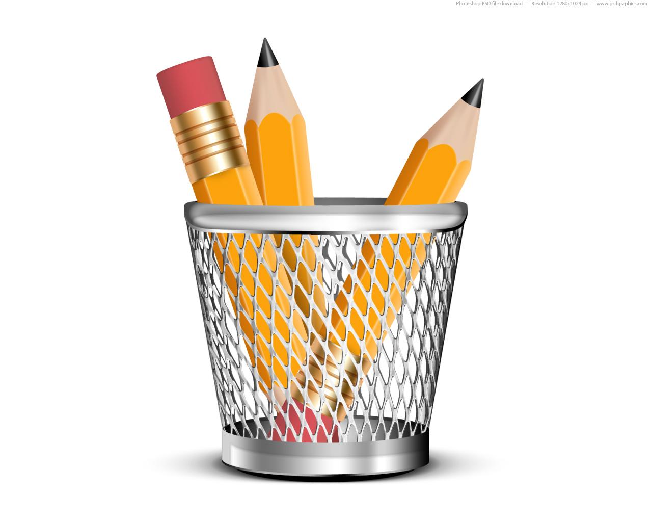 Pencils in a pencil holder, PSD icon   PSDGraphics
