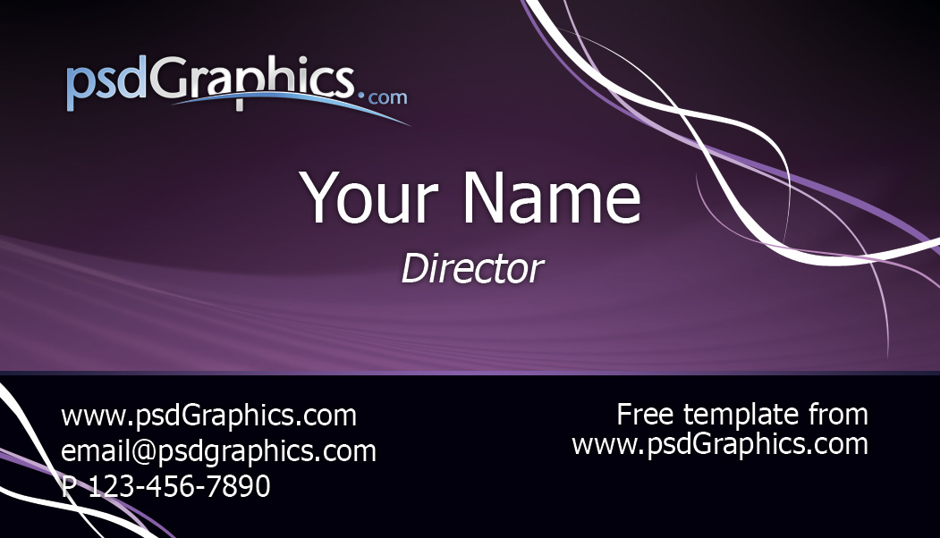 Purple Business Card Template PSDGraphics - Psd business card template
