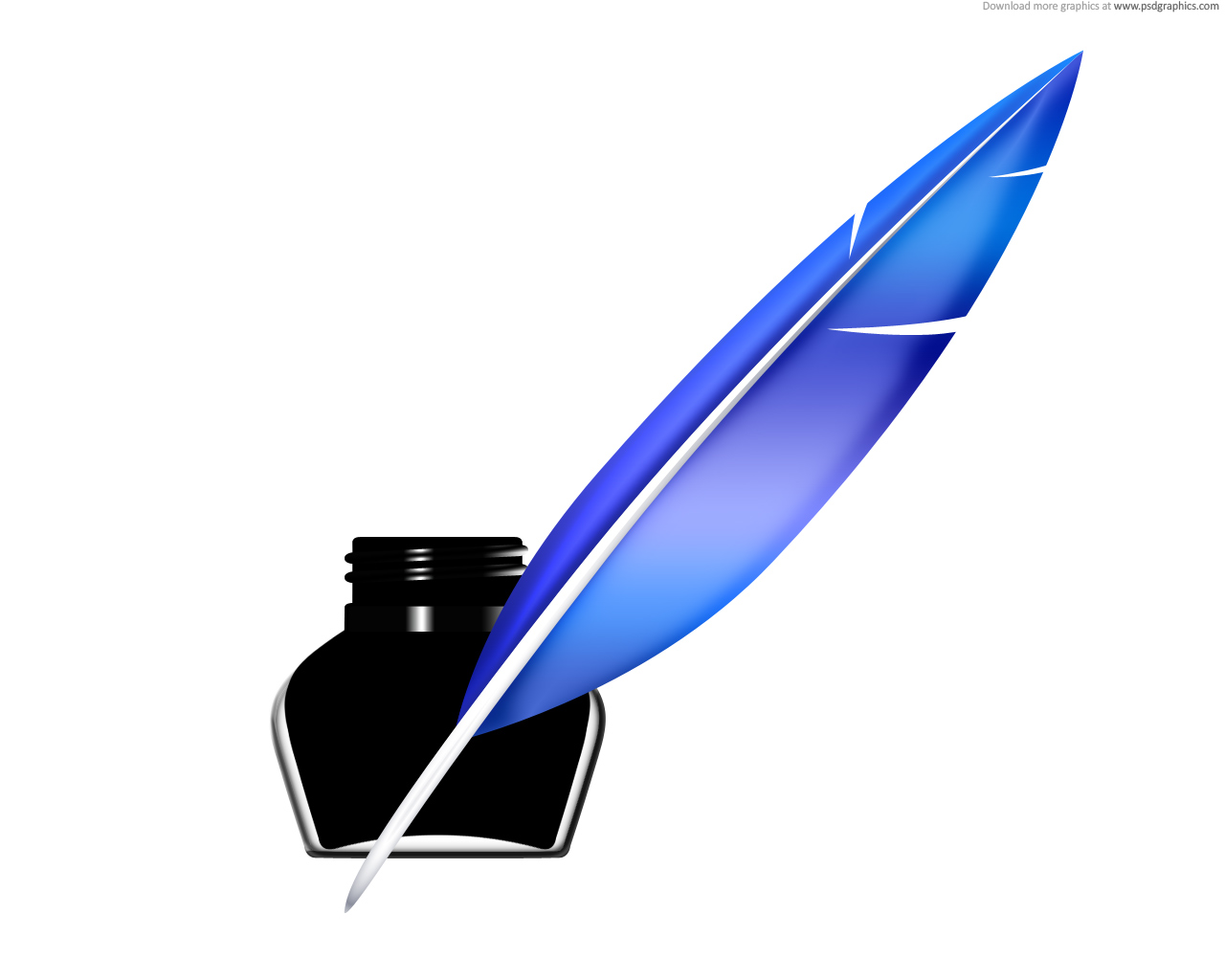 Vector Logo Icons: Quill pen and inkwell icon (PSD)