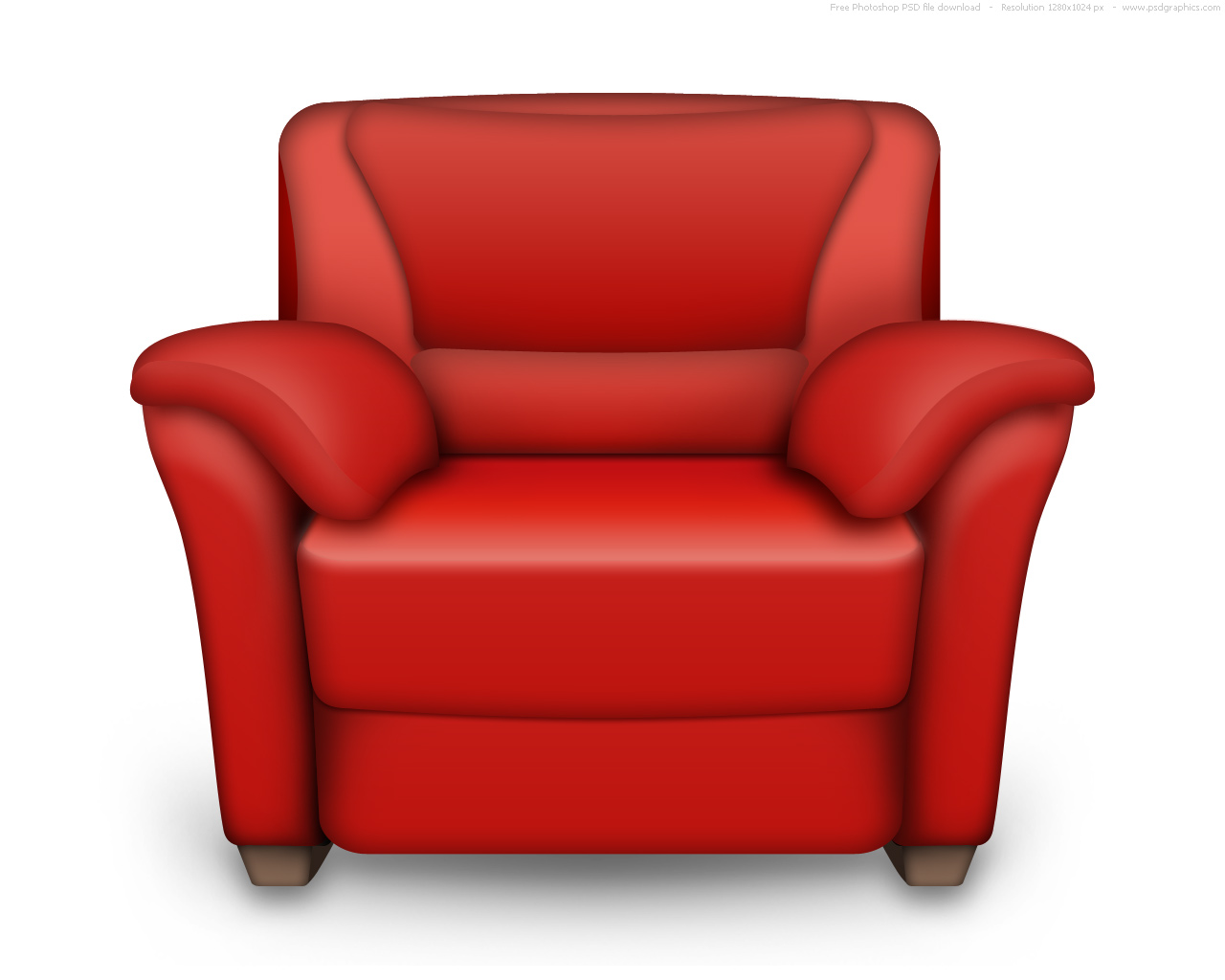 psd red and white leather armchair interior icon