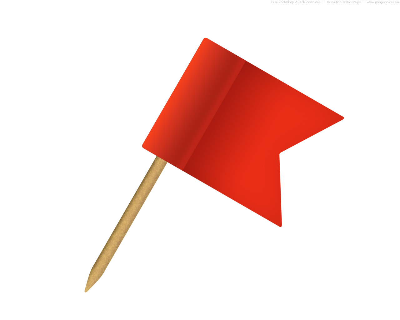 Red pushpin flag