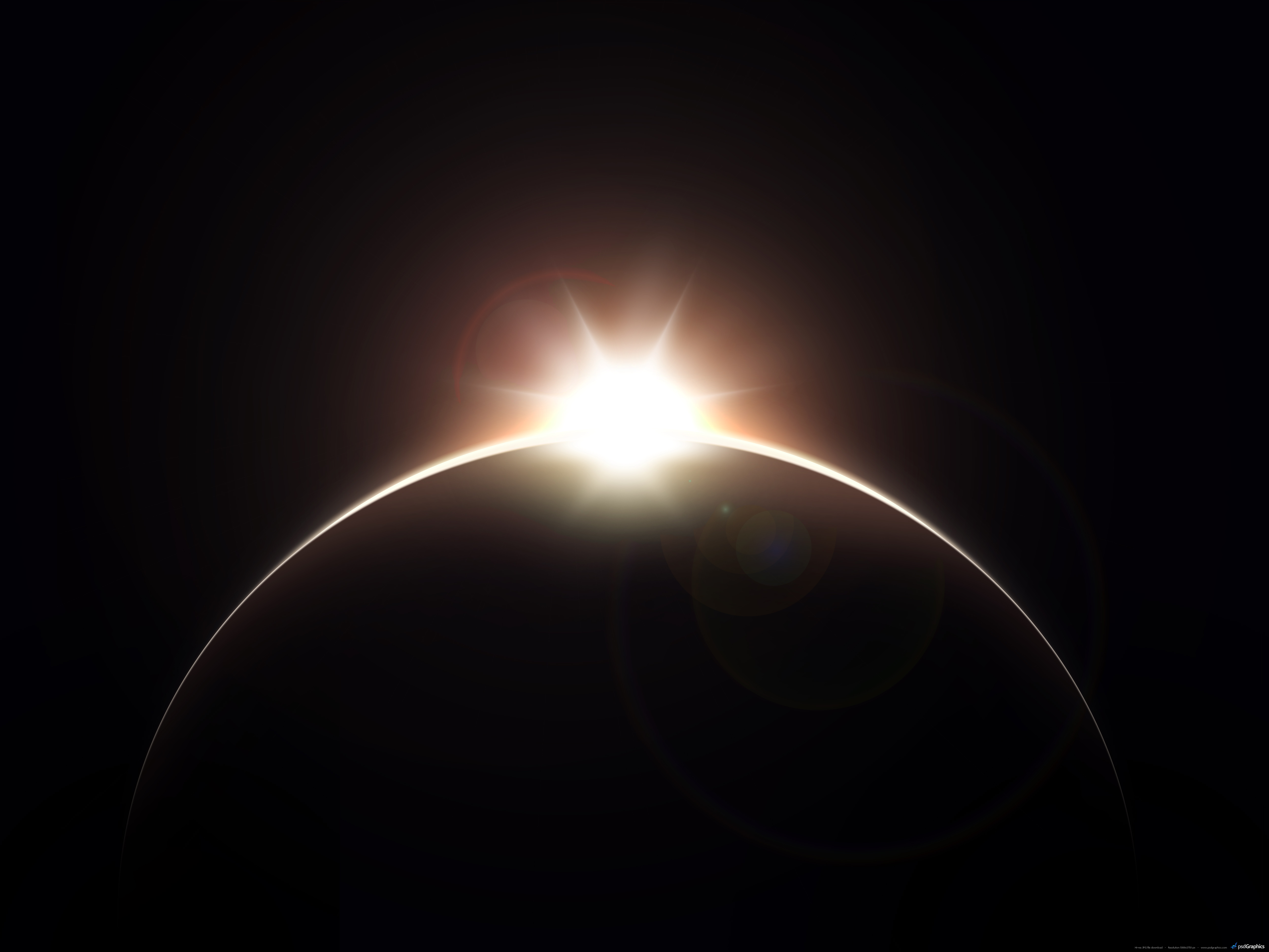 Planet with rising Sun background | PSDGraphics