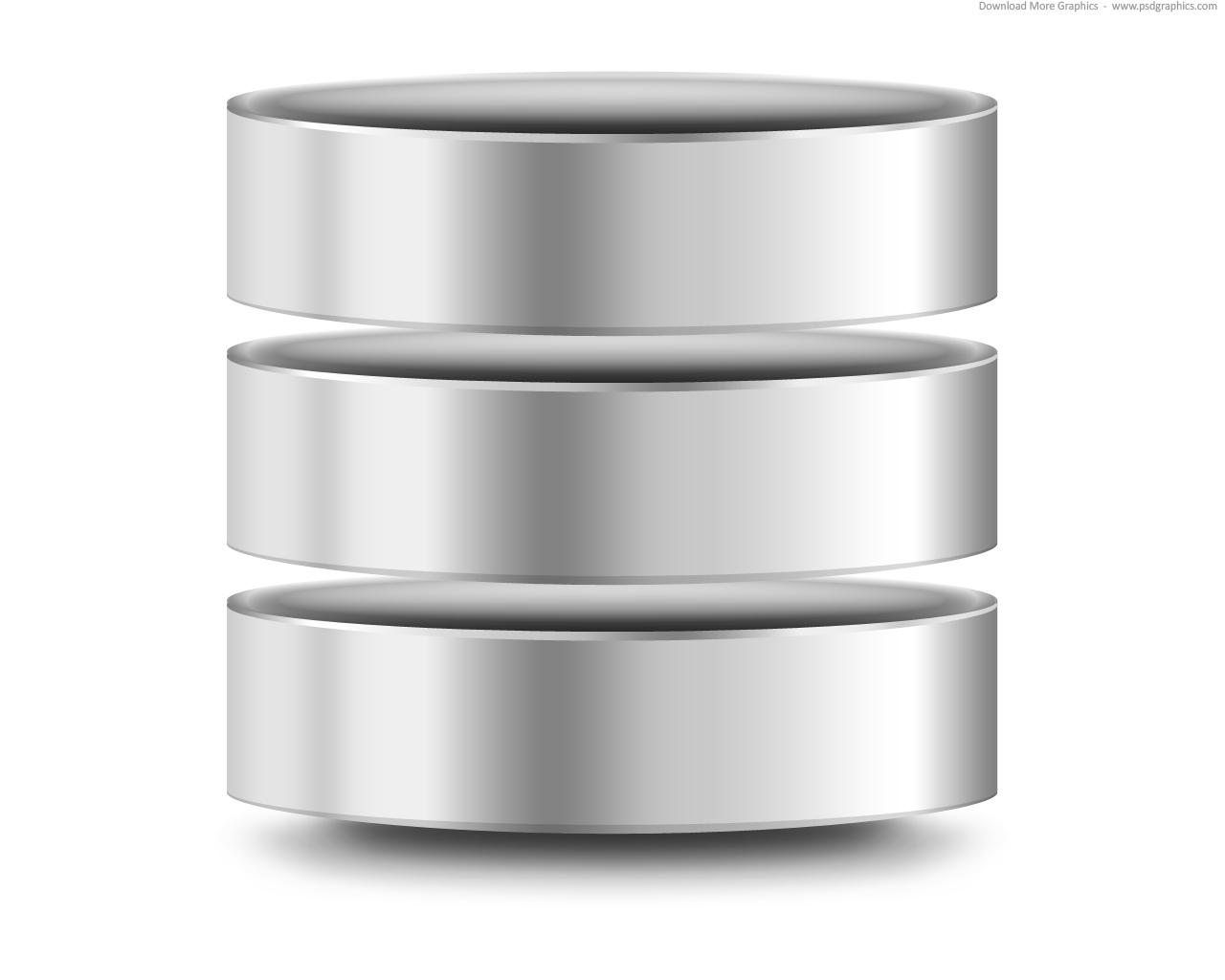 Silver computer database icon (PSD) | PSDGraphics