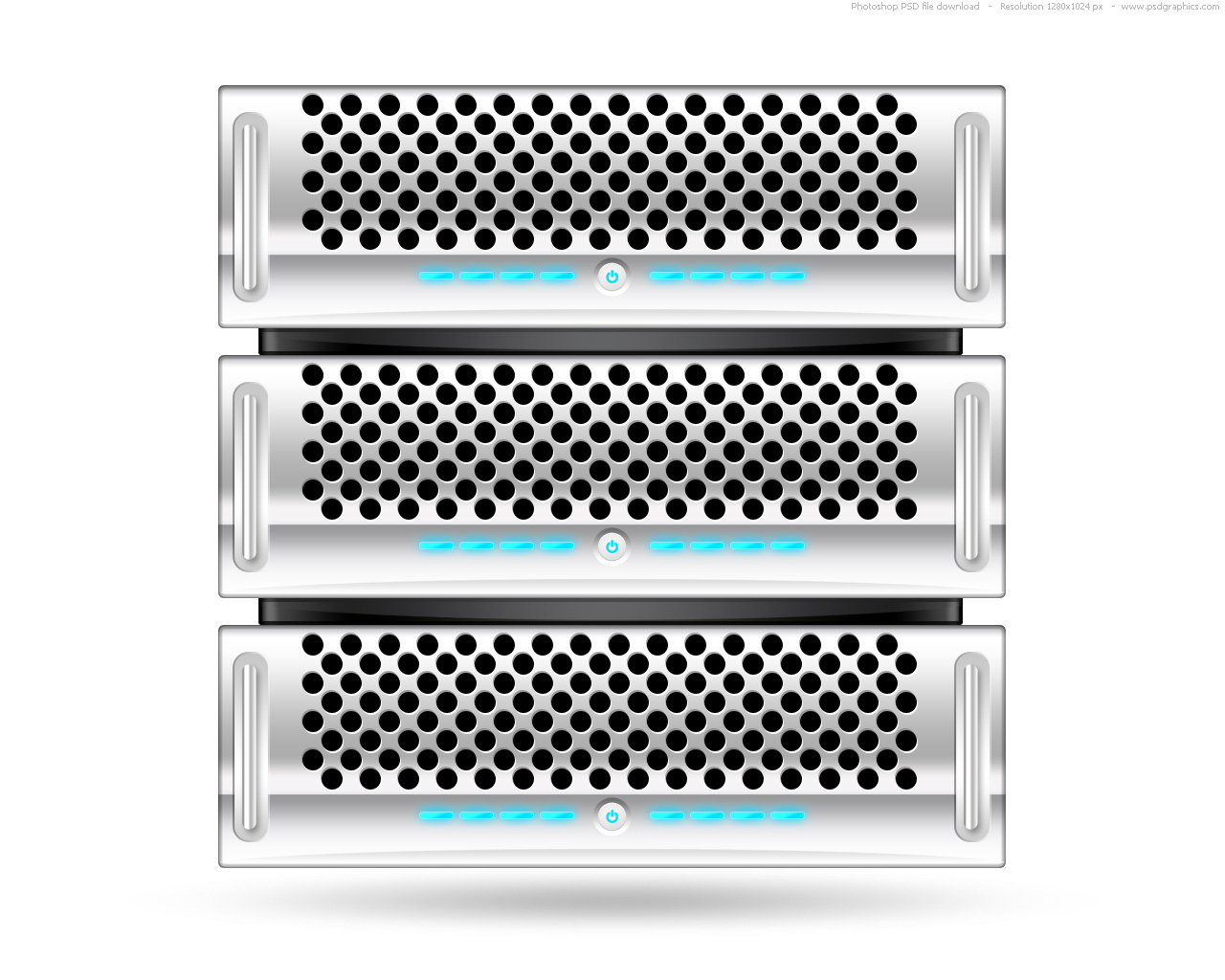 Silver rack server, PSD web icon | PSDGraphics