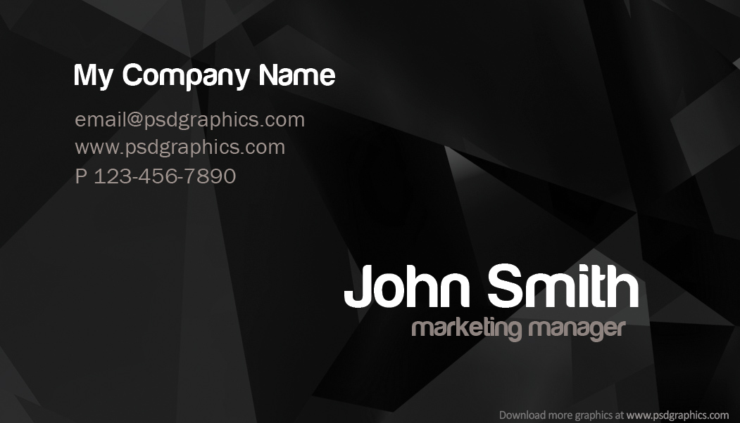Stylish Dark Business Card Template Back