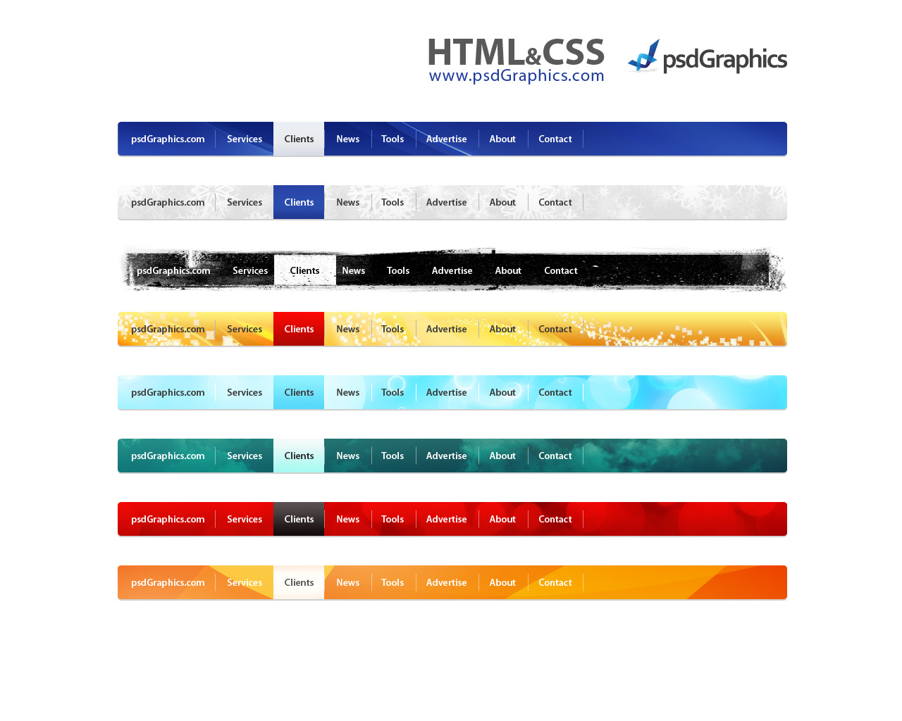 Psd web navigation html and css menus set psdgraphics for Html menu bar templates free download