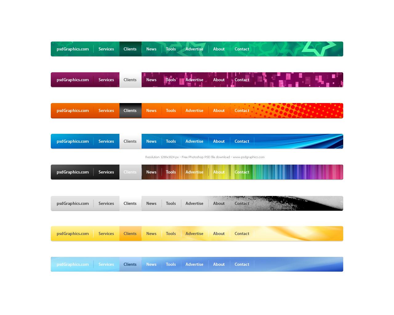 PSD Website Navigation Menus Set PSDGraphics - Website menu design templates