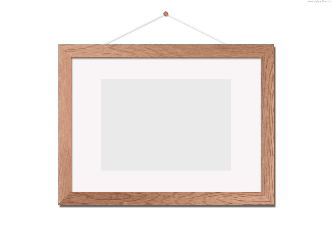 Wood Photo Frames : Wooden photo frame template (PSD)