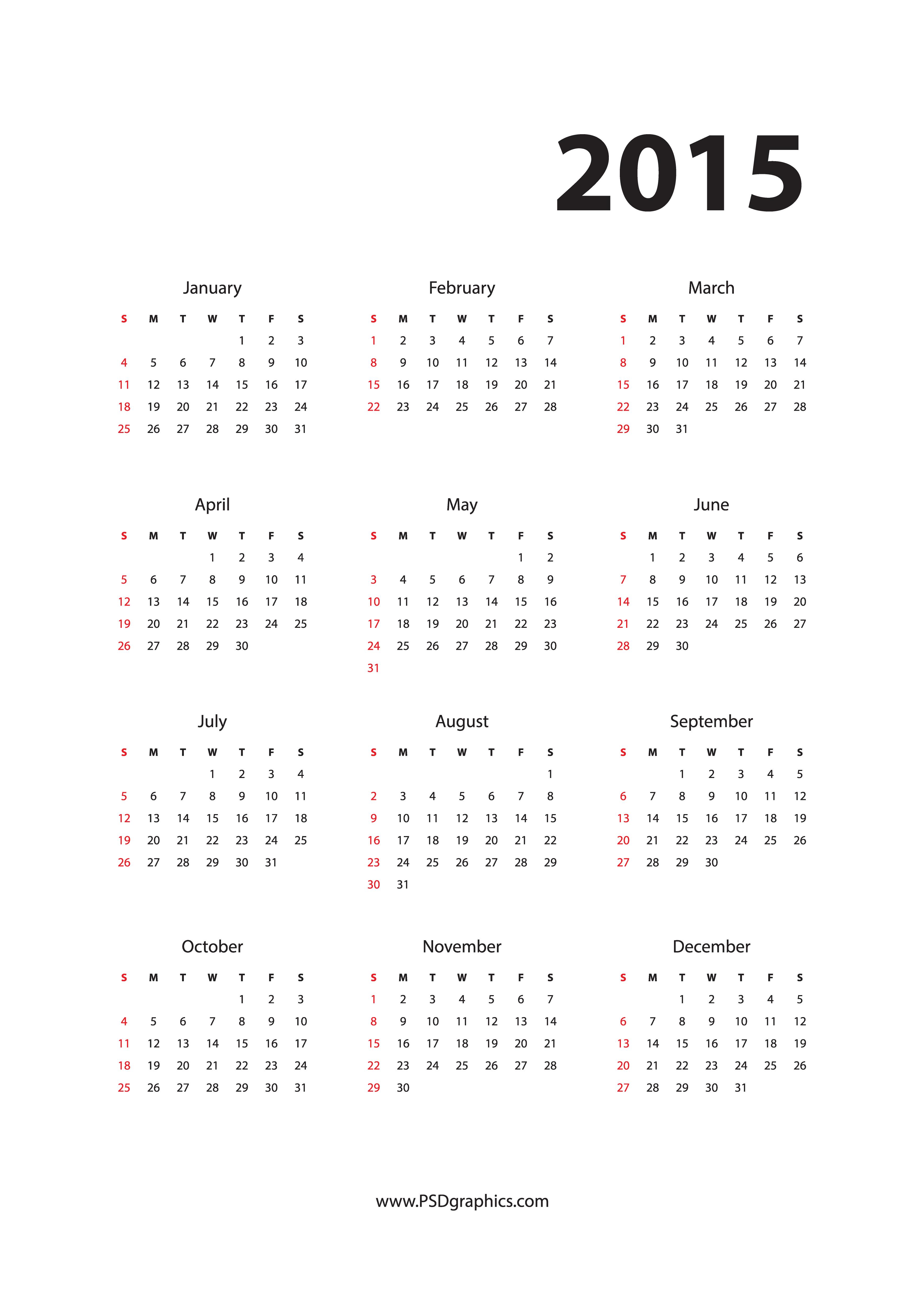 year 2015 calendar png 203kb