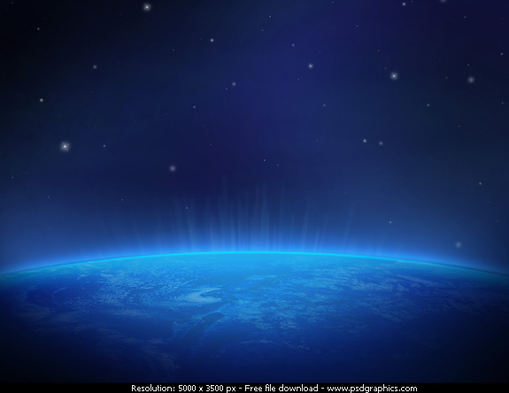 images of earth from space at night. Space view of the earth at night with a blue glow, horizon and the stars in