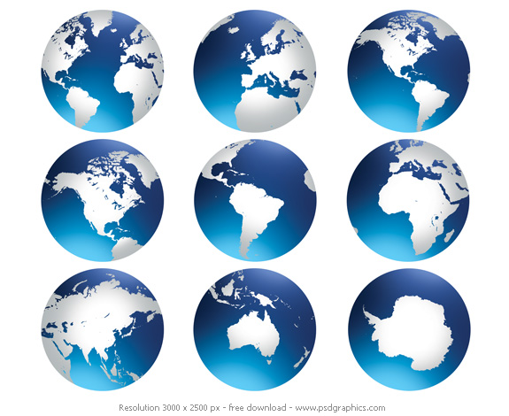 world globe preview. Resolution: 3000×2500 px. Size: ~ 500 KB each