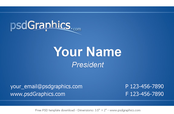 Blue Business Card Template PSDGraphics - Template for a business card