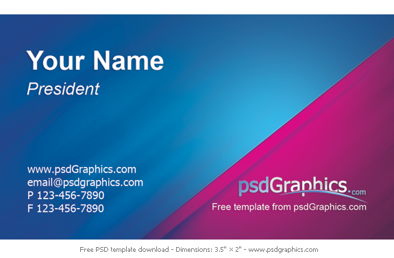 Business Card Template Design PSDGraphics - Business card photoshop template