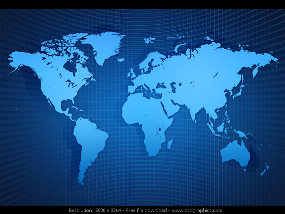 world map icon. Light blue shiny silhouette world map, on an abstract dark blue grid