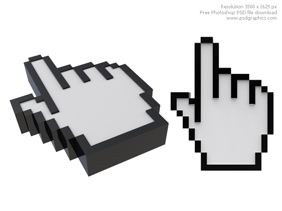 Keywords: hand cursors, computer mouse, hand pointer icon, 3d web hand