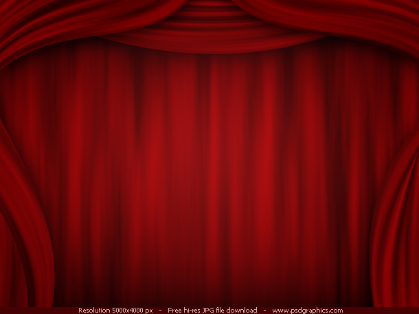 Red curtain backgrounds, theatre stage illustration in a dark color.
