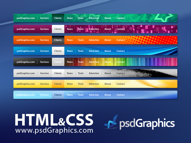 Psd web navigation html and css menus set psdgraphics for Horizontal menu templates free download