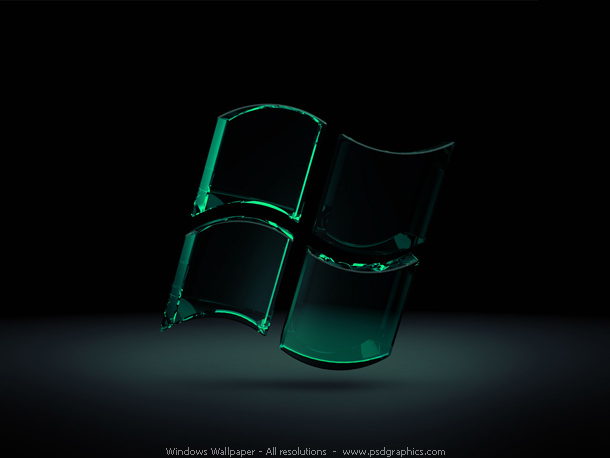 Modern theme Windows wallpaper. 3D glassy Windows logo in a shiny
