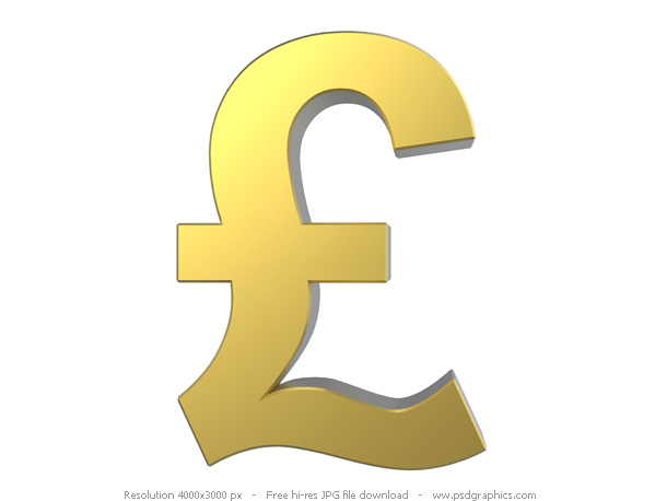 Keywords: 3D currency symbol, gold Pound sign, gold Pound currency,
