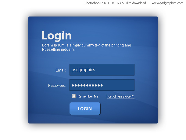 Blue login box, HTML and CSS with PSD template | PSDGraphics