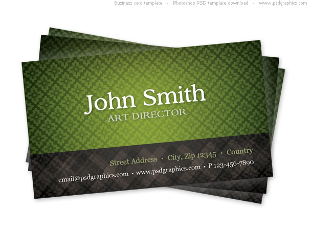 green pattern business card